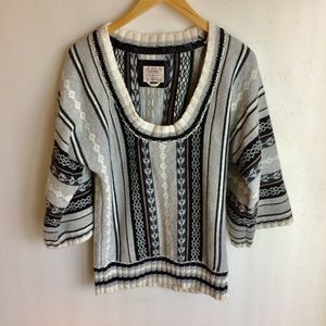 Old Navy Sweater Black White Gray Stripes Size M A